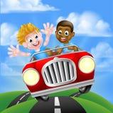 De Kinderen die van de beeldverhaaljongen Auto drijven stock illustratie