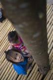 De kinderen die voedend een stuk van voedsel aan mier, het mooie jonge geitje die van Azië een voedsel houden en proberen om wat  royalty-vrije stock foto