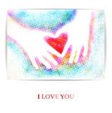 De kinderen dient de vorm van hart in Ik houd van u Vector illustratie, EPS10 Stock Afbeelding