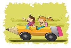 De kinderen gaan naar school royalty-vrije illustratie