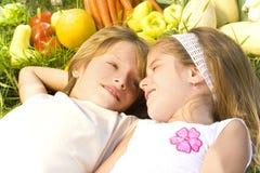 De kinderen genieten van in de tuin Stock Afbeelding