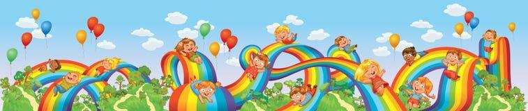 De kinderen glijden neer op een regenboog. Achtbaanrit Stock Fotografie