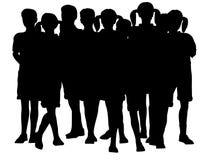 De kinderen groeperen silhouet Royalty-vrije Stock Foto's