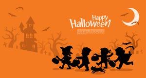 De kinderen in Halloween gaan Truc of het Behandelen royalty-vrije illustratie