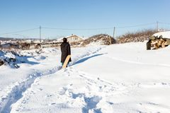 De kinderen hebben pret op sneeuw in de winter stock afbeeldingen
