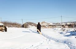 De kinderen hebben pret op sneeuw in de winter royalty-vrije stock foto