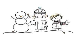 De kinderen hebben pret in wintertijd Stock Foto