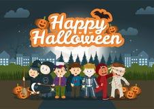De Kinderen in het park onder de Halloween-nachthemel stock illustratie