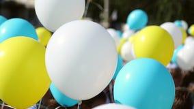 De kinderen houden ballons stock videobeelden