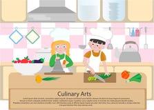 De kinderen koken in de keuken Culinair Kunstenconcept Het koken Cla Royalty-vrije Stock Foto's