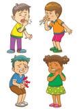 De kinderen krijgen ziek beeldverhaalkarakter royalty-vrije illustratie