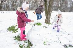 De kinderen maken een Sneeuwman in het Park bij de Winterdag stock foto's