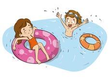 De kinderen met vlotterwater belt illustratie Stock Afbeelding