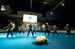 De kinderen nemen bij de Internationale MegaDance-concurrentie deel stock afbeeldingen