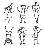 De kinderen overhandigen getrokken vectorreeks Stock Foto's