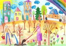 De kinderen plantten een boom Stock Afbeeldingen