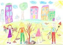 De kinderen plantten een boom Stock Afbeelding