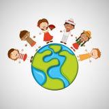 de kinderen rond de wereld ontwerpen Stock Foto