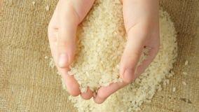 De kinderen` s handen houden een zwarte rijstkorrel stock footage