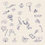 De kinderen` s tekening wordt getrokken op een blad van schoolnotitieboekje Kinderen` s tekeningen van het pictogram De gelukkige Stock Foto