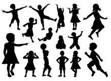 De kinderen silhouetteren Reeks stock illustratie