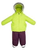 De kinderen snowsuit vallen Stock Afbeeldingen