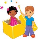 De kinderen spelen magisch Royalty-vrije Stock Afbeeldingen