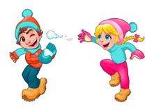 De kinderen spelen met sneeuw Stock Afbeelding