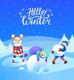 De kinderen spelen met sneeuw De vakantie van de winter vector illustratie