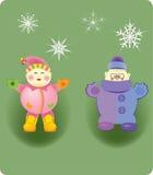 De kinderen spelen sneeuwvlokken Stock Afbeelding