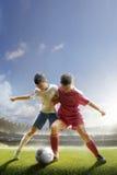 De kinderen spelen voetbal op grote arena stock foto's