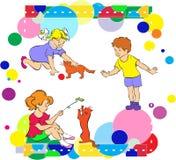 De kinderen spelen. Vrolijke vakantie in een circus. royalty-vrije illustratie
