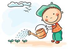 De kinderen springen activiteiten op: jongen het water geven spruiten royalty-vrije illustratie