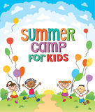 De kinderen springen ob de zomer achtergrond bunner beeldverhaal grappig vectorkarakter Illustratie Stock Fotografie