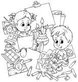 De kinderen trekken Stock Afbeelding