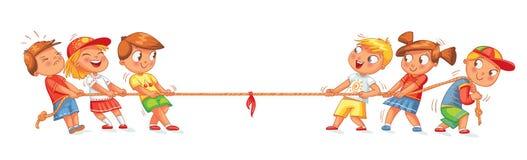 De kinderen trekken de kabel Jonge geitjes die touwtrekwedstrijd spelen vector illustratie