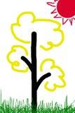 De kinderen trekken een boom met de zon royalty-vrije illustratie