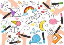 De kinderen trekken op papier - vectorillustratie, eps vector illustratie
