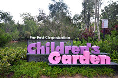 De kinderen tuinieren in Tuin door de Baai, Singapore Royalty-vrije Stock Afbeelding