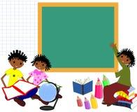 De kinderen van Afrikaanse afdaling met boeken in de school schepen in, stock illustratie