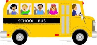 De Kinderen van de Bus van de school Stock Foto