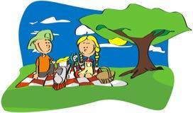 De kinderen van de picknick. royalty-vrije illustratie