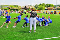 De kinderen van de school op sportendag Royalty-vrije Stock Foto's