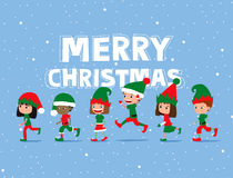 De Kinderen van Kerstmis Leuke beeldverhaaljonge geitjes die elfkostuums dragen Stock Fotografie