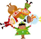 De kinderen van Kerstmis plaatsen met: de Kerstman, rendier, Stock Afbeelding