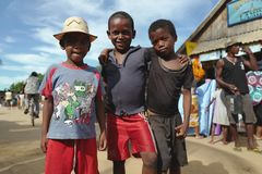 De Kinderen van Madagascar in Morondava, Madagascar Royalty-vrije Stock Foto