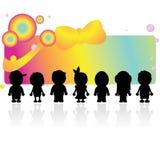 De kinderen van silhouetten Stock Afbeelding