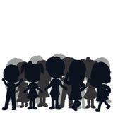 De kinderen van silhouetten Royalty-vrije Stock Afbeeldingen