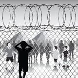 De kinderen in vluchteling kamperen Stock Afbeelding