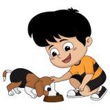De kinderen voeden de hond, een vriend van zijn geliefd vector illustratie